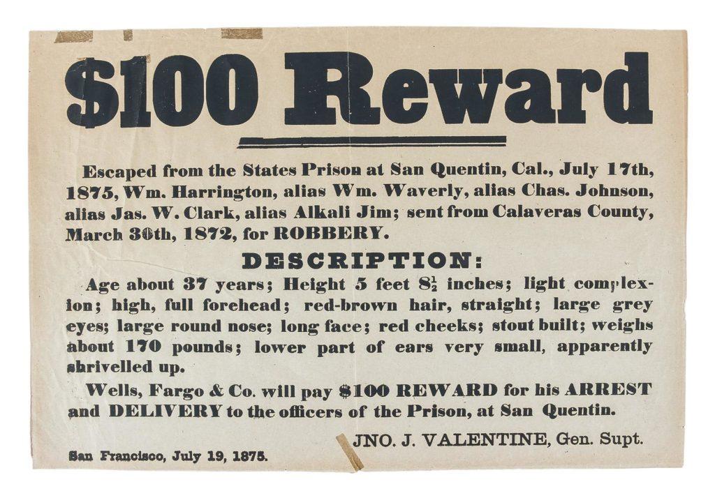 Gavels 'n' Paddles: Wells Fargo reward poster, $10,200, PBA Galleries