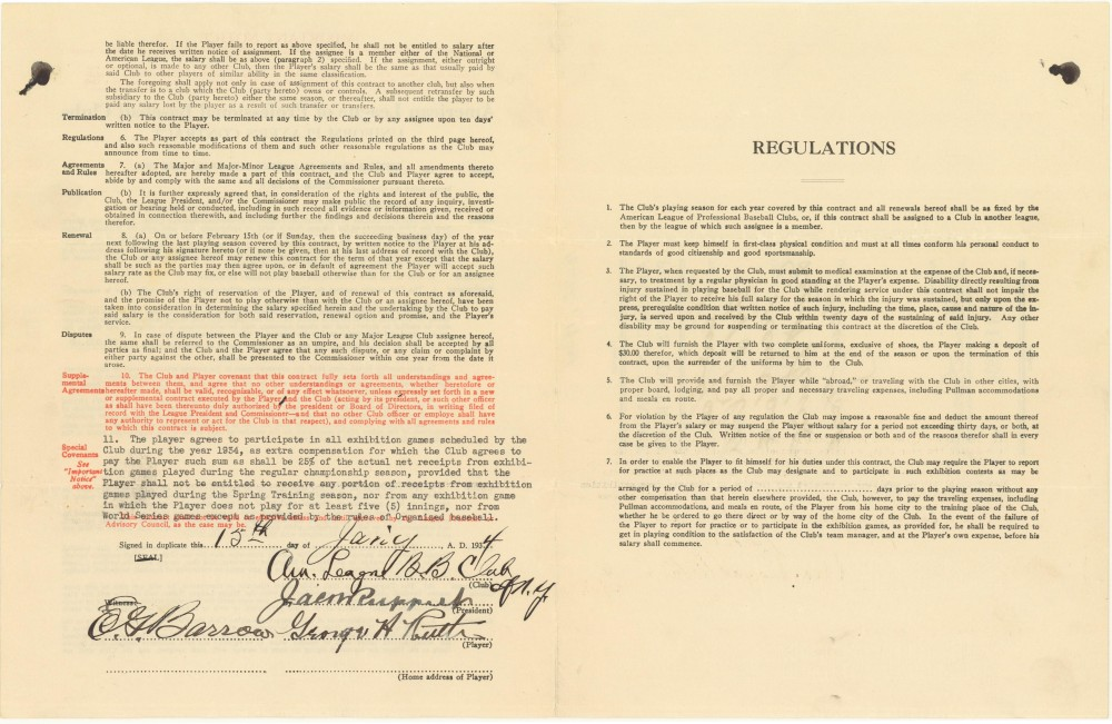 Gavels 'n' Paddles: Babe Ruth signed contract, $282,325, Goldin Auctions