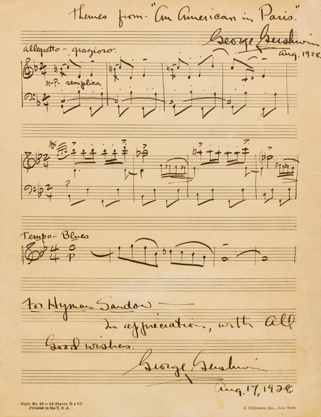 Gavels 'n' Paddles: Gershwin manuscript, $27,500, Leslie Hindman