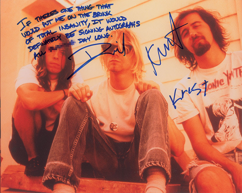 Gavels 'n' Paddles: Nirvana signed photo, $14,323, RR Auction