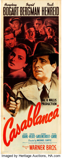Gavels 'n' Paddles: Casablanca movie poster, $102,000, Heritage Auctions