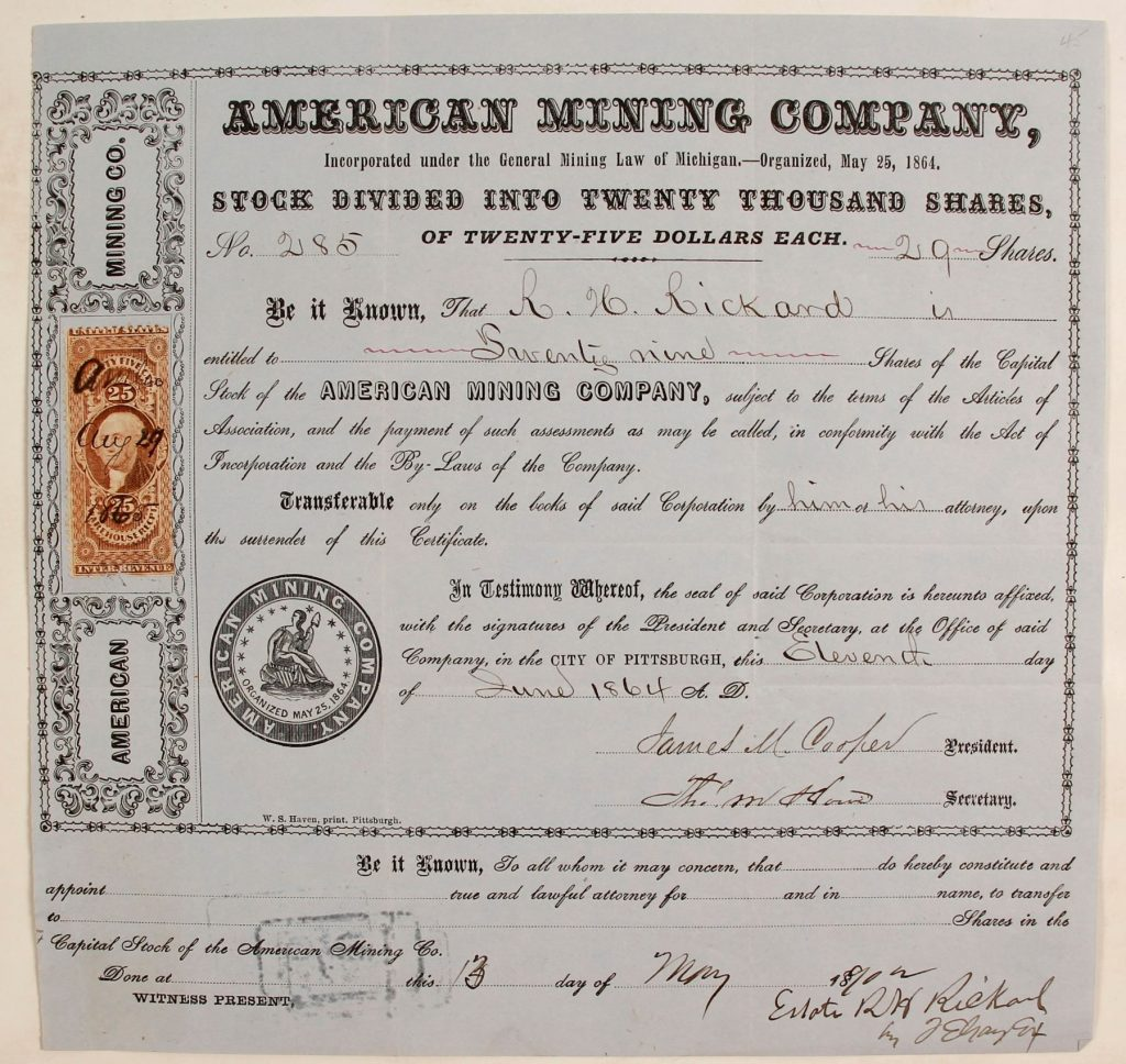 Gavels 'n' Paddles: Michigan mining stock certificate, $5,250; Holabird Western Americana