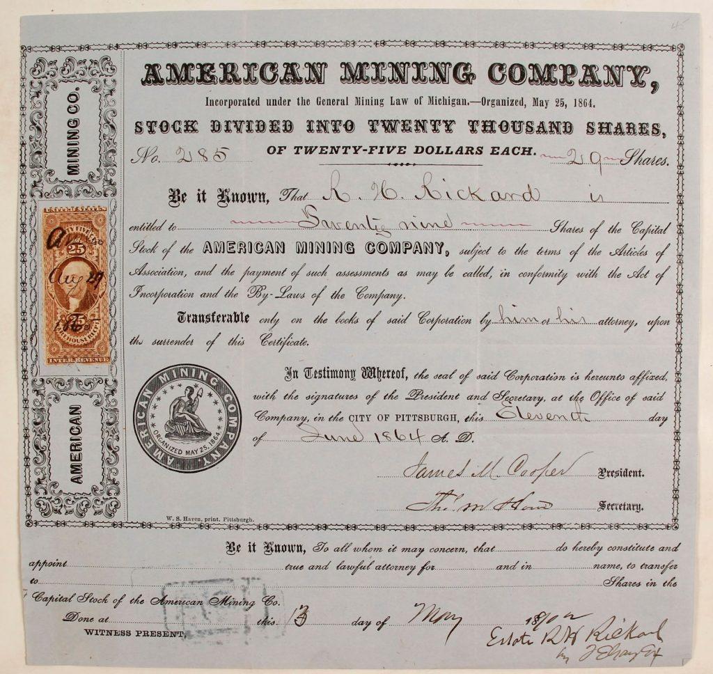 Gavels 'n' Paddles: Michigan mining stock certificate, $5,250; Holabird Western Americana