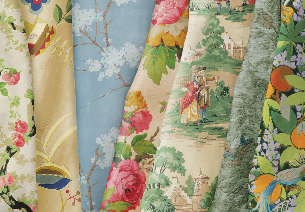 vintage patterns on a variety of different fabrics