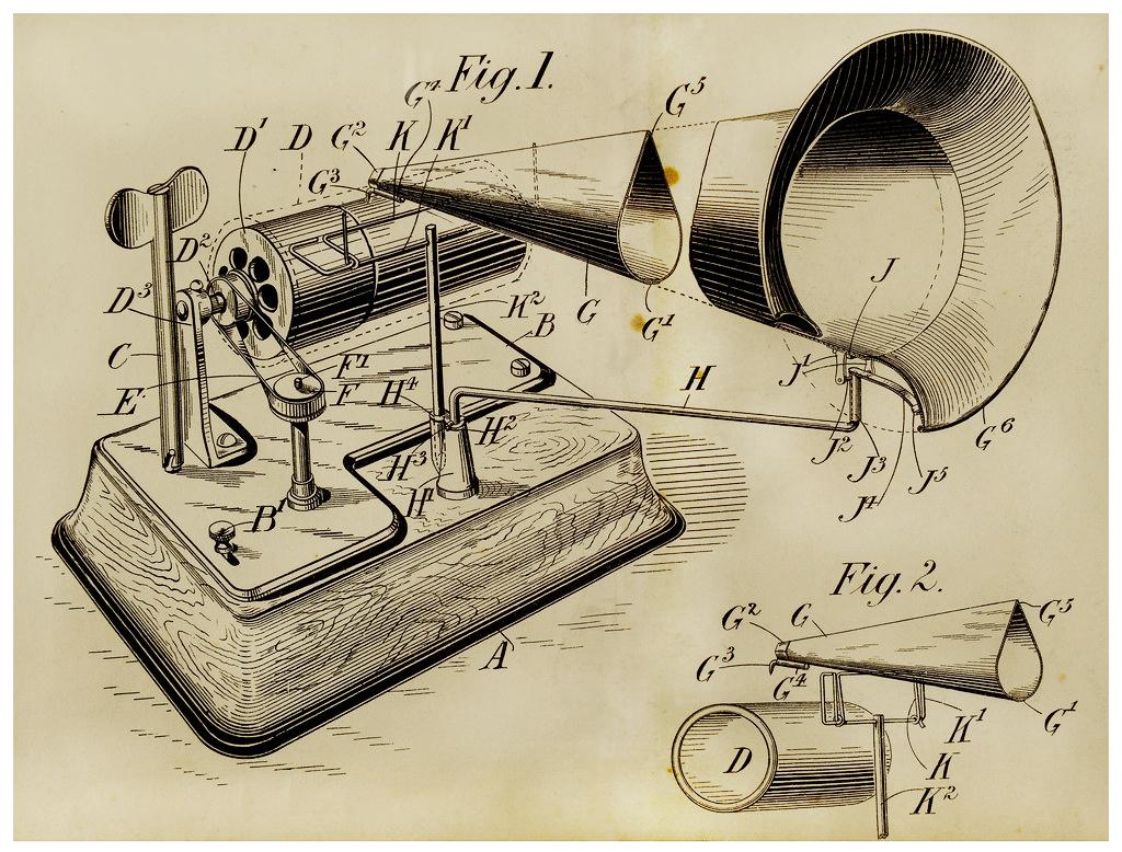 1878 Edison Phonograph Patent Image