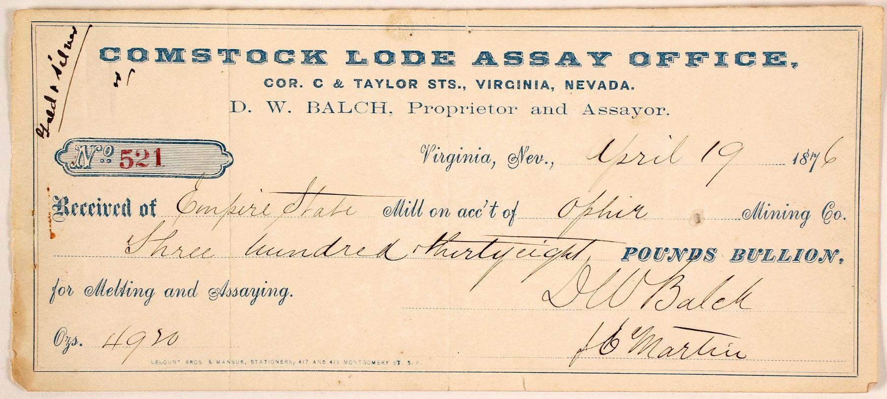 Comstock Lode Assay Office Receipt, 1876
