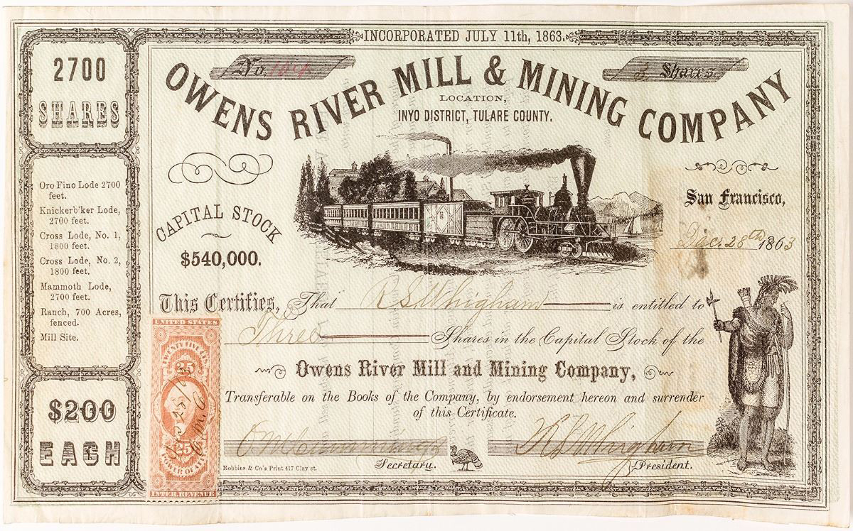 Owens River Mill & Mining Company Stock Certificate