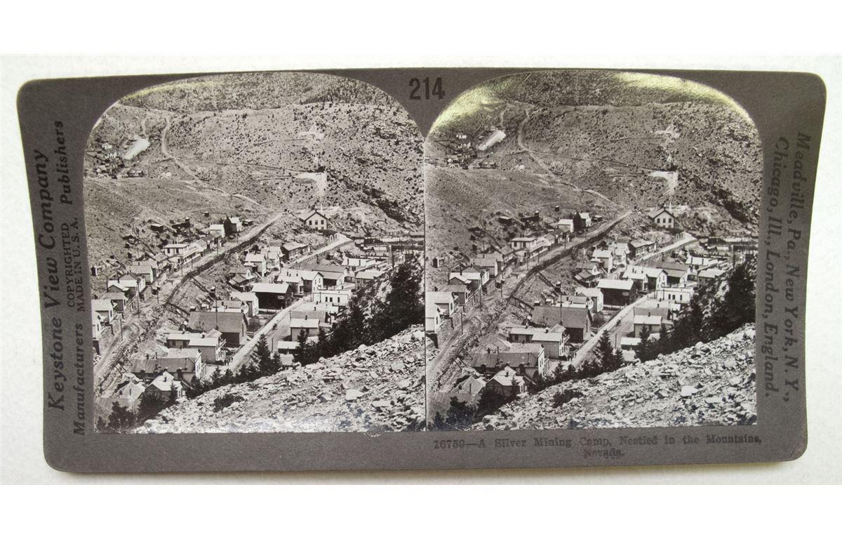 Silver Mining town Black Hawk Keystone Stereoview