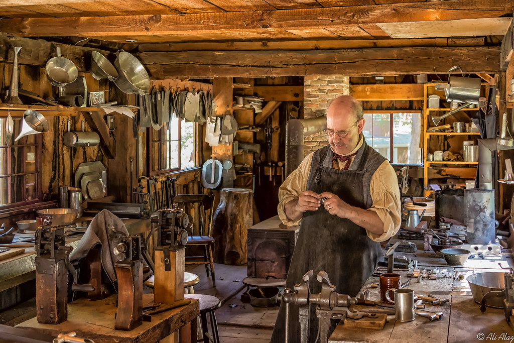 The Tinsmith in his shop at Old Sturbridge Village