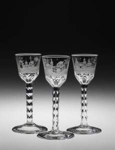 Wine or cordial glasses, cut and engraved lead glass.