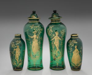 Ornamental vases, gilded copper-green lead glass.