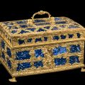 Casket with glass panels, fused, gilded, and molded nonlead glass; metal. Probably England, possibly James Cox, about 1760–1770.