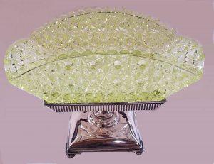"Not your traditional shape: rectangular Vaseline glass basket. 11"" longest side, $550-$600."