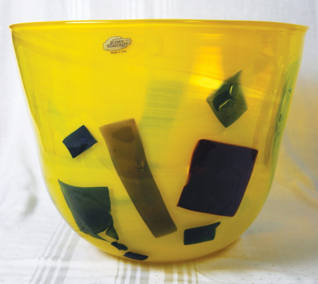 """Blenko Glass Modernist """"Opaque"""" Line large Yellow Bowl, No. 2904 made in 2004"""