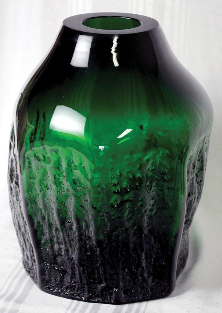Mid-Century Modern Querandi sculptural emerald green glass vase from Argentina.Massive, thick sandblasted sculptured walls