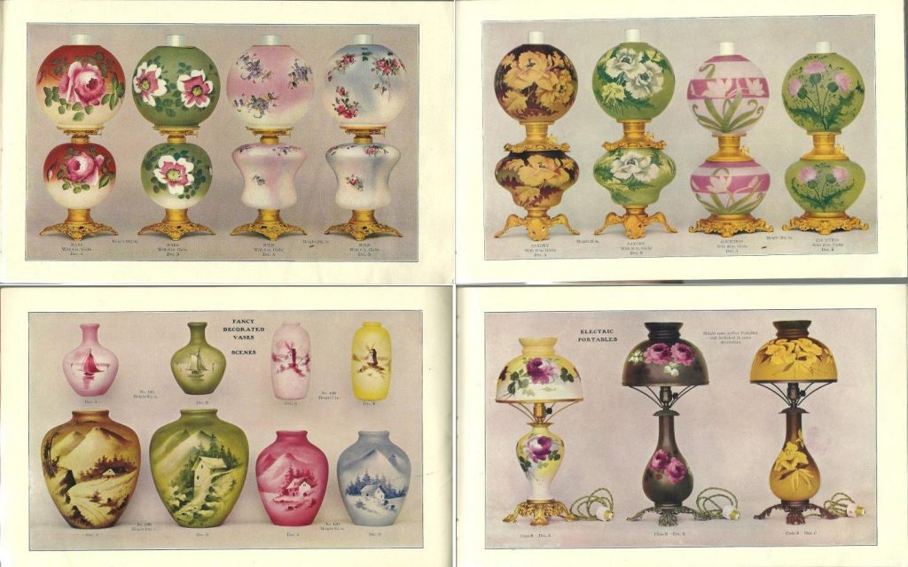 1904 Fostoria Glass Company Catalog lamps and vases
