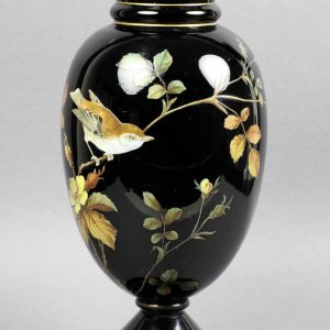 19th Century Black Vase Hand Painted: Exceptional quality antique Victorian 'black' glass vase hand painted in colored enamels with a bird perched on a flowering twig and dating from the 19th century. Sold at xupes.com