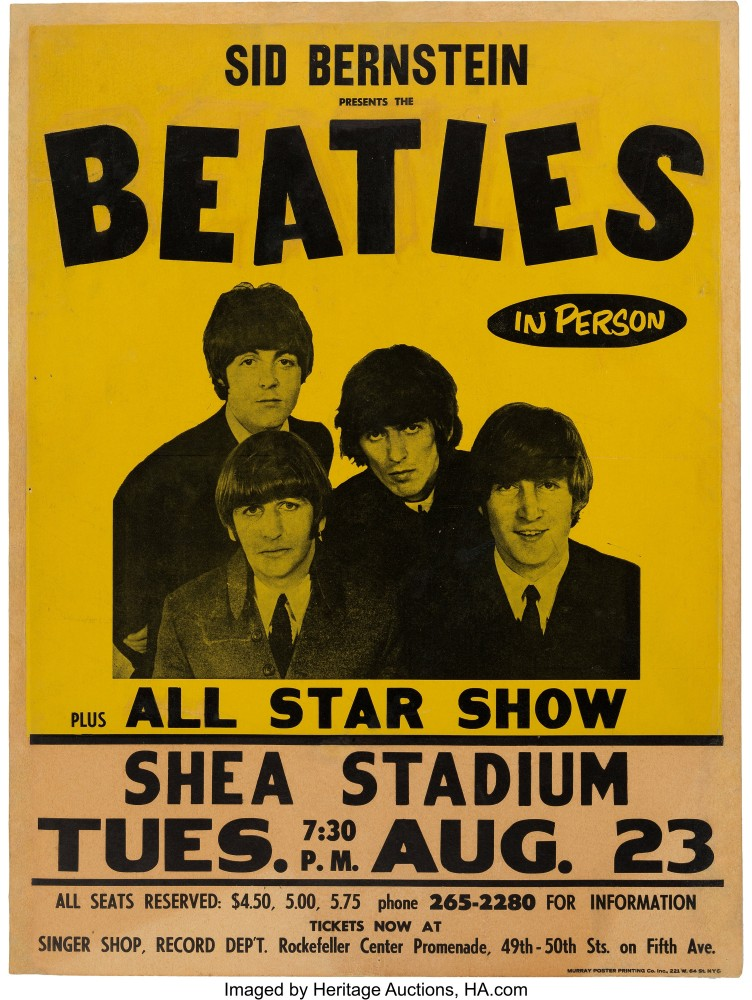 Beatles Shea Stadium poster, $137,500, Heritage Auctions
