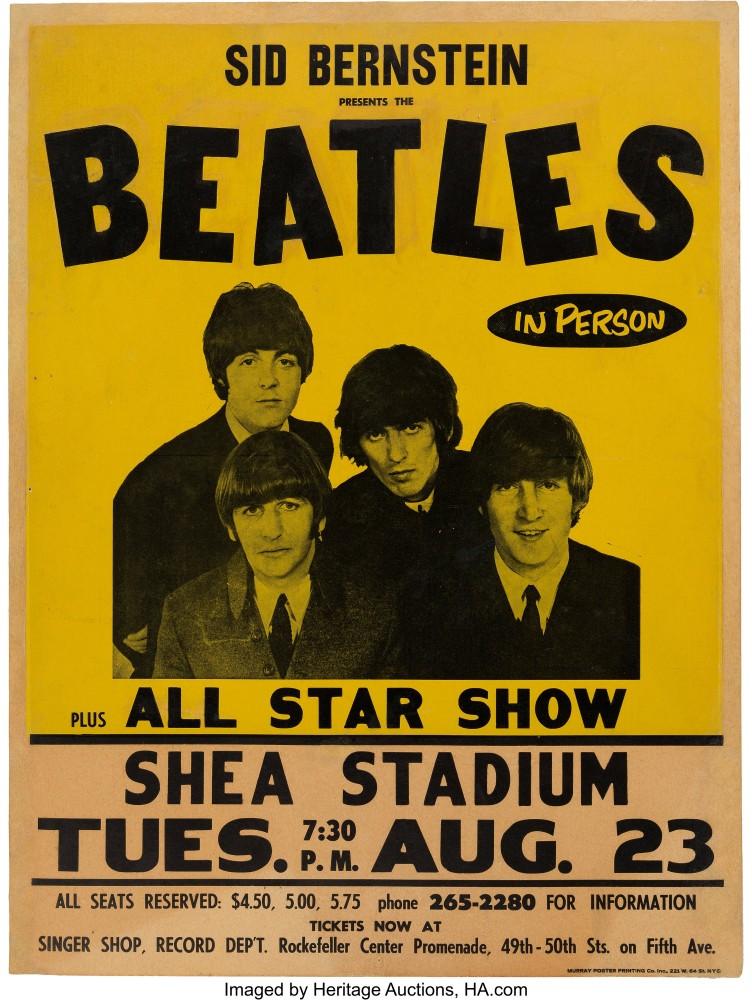 Beatles Shea Stadium poster,$137,500, Heritage Auctions