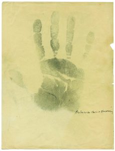 "At right is what the New York Times called ""a charming relic of Antoine de Saint-Exupéry's adventures in chirology, or palm reading. He made this impression of his hand in 1935 in the presence of Dr. Charlotte Wolff, who detected ""a rare gift of observation"" and ""love of animals."" The analysis and the print, which Saint-Exupéry signed, was published in a Surrealist journal, along with ones for André Breton, Aldous Huxley and Marcel Duchamp. ""That he would sign an impression of his hand is perfect,"" Mr. Corrêa do Lago said. This was part of the exhibit The Magic of Handwriting at The Morgan Library and Museum."