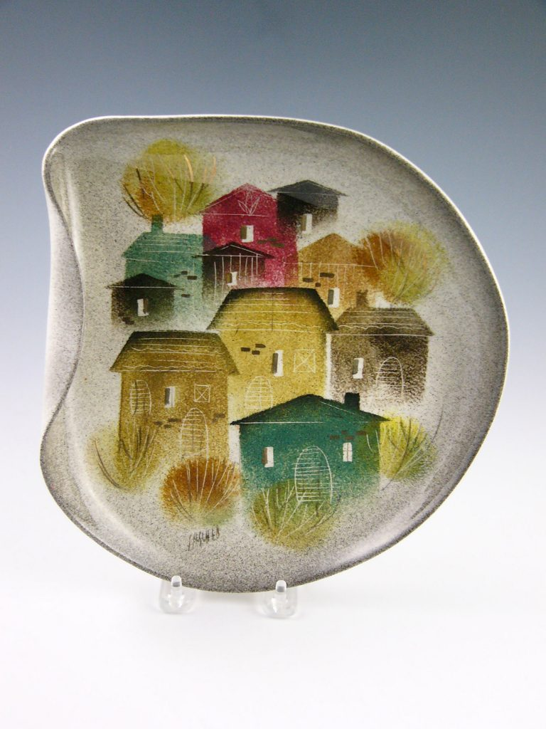 "Rooftops irregular plate by Sascha Brastoff, 10-1/2"" longest side, $75-$100"