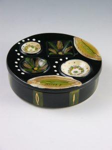 "Sascha Brastoff's Americana circular covered box, 5-1/4"" d, $100-$125. Detail, Sascha Brastoff signature"