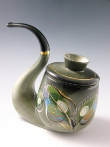 "Brastoff's Jeweled Leaf tobacco jar, 8"" h, $125-$150"