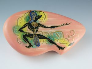 "Jungle Dancer bean-shaped covered dish by Marc Bellaire, 11"" l, $150-$175"