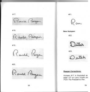Reference books are an invaluable tool for analyzing autographs, particularly autopens and facsimiles. These pages, from Presidents of the United States, Autopen Guide by Stephen Koschal and Andreas Wiemer, 2011, illustrate the variety of autopen signatures that certain public figures could employ. photo: Autograph Planet