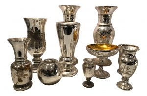 Collection of seven antique mercury glass vessels selling for $750 at charish.com