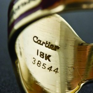 The Cartier mark on a ring