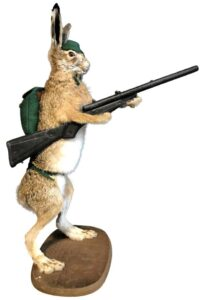 While you can of course find vintage taxidermy at antique dealers or flea markets, online marketplaces are also getting in on the game. These striking examples were for sale in May at 1stdibs.com. We think something similar could be the perfect addition to your cabin or collection. Mounted Taxidermy Hare with Rifle, circa 2018, selling for $1,085, photo:1stdibs