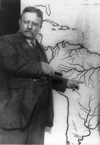Roosevelt showing the route he would take through the Amazon forest.