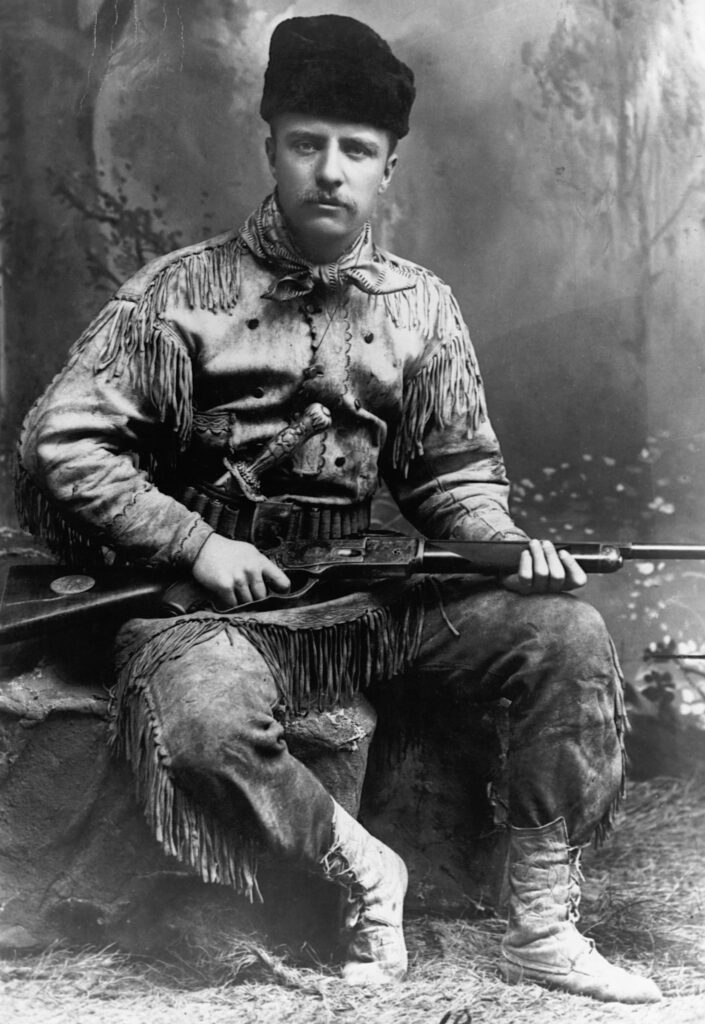 A portrait of Theodore Roosevelt (1858-1919) in buckskin, without his trademark glasses. This portrait is dated 1885, the year he retired to his ranch in the Dakota Territory, following the death of his mother and first wife. photo: TIME