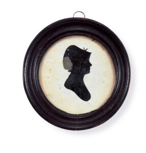 Figure 1: Cynthia Dunbar, paper hollow cut silhouette by William King, 1805-1815. PI1313, Gift of Mrs. Leander Gage, through her granddaughter Miss Mabel Carleton Gage (1939). photo courtesy of the Concord Museum