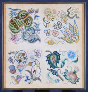 Crewelwork sampler, one of the early projects worked by Erica at the Royal School of Needlework. Their first few projects were designed for them. Students had to pay for their own materials and most proudly kept their projects for the whole of their lives. 2015.0047.004 A, B, Gift of The Family of Erica Wilson, Courtesy of Winterthur Museum