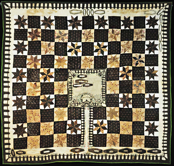 Elizabeth Roseberry Mitchell (1799-1857) medallion quilt picturing a cemetery and coffins in the center. Collection of the Kentucky Historical Society, Donated in 1959 by her granddaughter Nina Aura Mitchell Biggs (1866-1968), a local historian and writer.
