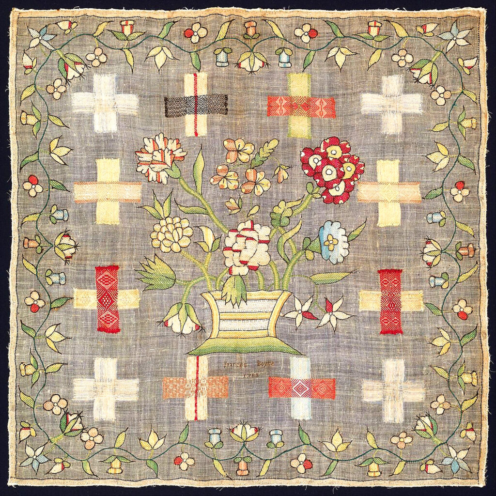 "British darning sampler, signed: Frances Boyce/1780, silk on linen, 20 ¹⁄₈ x 20 ¹⁄₈"" framed, courtesy www.metmuseum.org"
