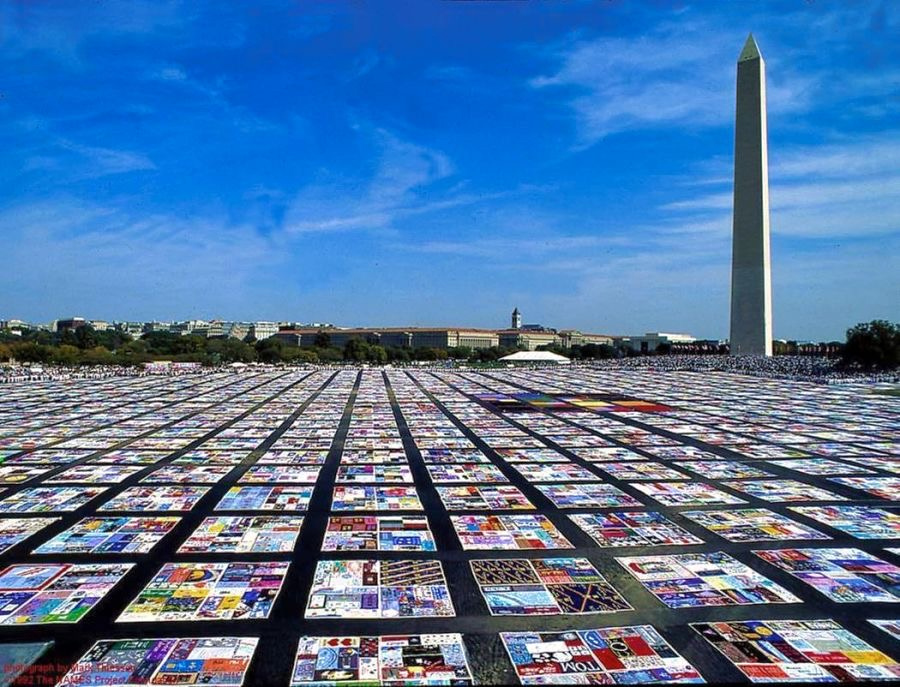 The AIDS Memorial Quilt on display on the National Mall