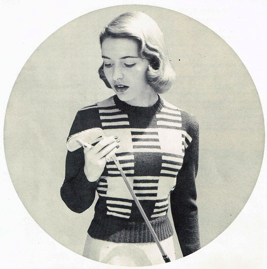 Knitwear was the primary fabric for sporting activities in the 1920s, but with cheaper alternatives such as factory-produced sweatshirts and tracksuits gained traction, knitwear transitioned to the realm of low impact, high-end sports whose users could afford 'fancier' knit garments. Knitwear also transitioned to smart casual clothing, which is where we most commonly see it today. Courtesy of HoneyCombPatterns, Etsy.
