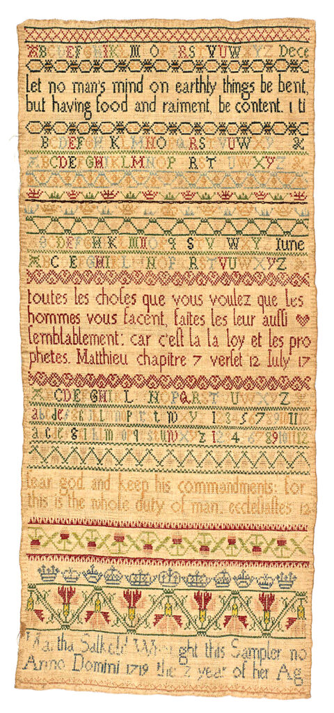 """Martha Salkeld Wrought this Sampler no/Anno Domini 1719 the 7 year of her Age, featuring bright bands, multiple alphabets, and Biblical verse, silk on linen, Britain, 19 x 8¼"", courtesy www.metmuseum.org"