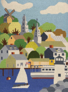 Erica and Vladi loved Nantucket and spent as much time as they could there during the summer, where Erica would sail a small Sunfish off the beach. This embroidery depicts Nantucket harbor. 2015.0047.013 A, Gift of The Family of Erica Wilson, Courtesy of Winterthur Museum