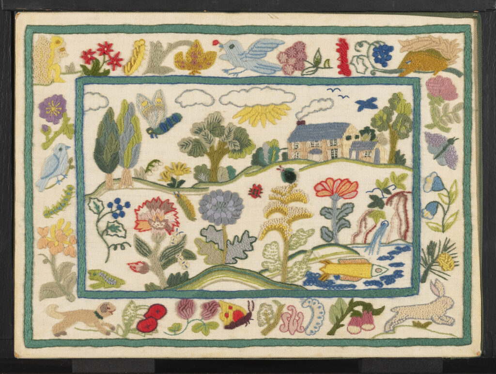 """Country Life,"" one of Erica's perennially popular designs, was introduced as part of her Signature Collection with Columbia Minerva in 1971. It was inspired by 17th century needlework in the V&A that she felt was ""quite in keeping with today's interest in ecology."" According to her 1971 catalog, she used fifty colors and thirty different stitches to make what she calls ""a masterpiece of crewel embroidery."" 2015.0047.016.001 A, B, Gift of the Family of Erica Wilson, Courtesy of Winterthur Museum"