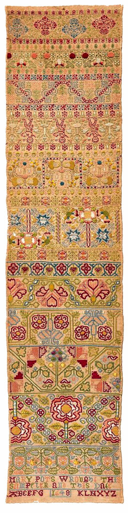 "British band sampler inscribed ""Mary Pots wrought this sampler and this date/1648,"" silk on linen; double running, satin, detached buttonhole, Montenegrin cross, herringbone, and chain stitches, 34½ x W. 8¼"", courtesy www.metmuseum.org"