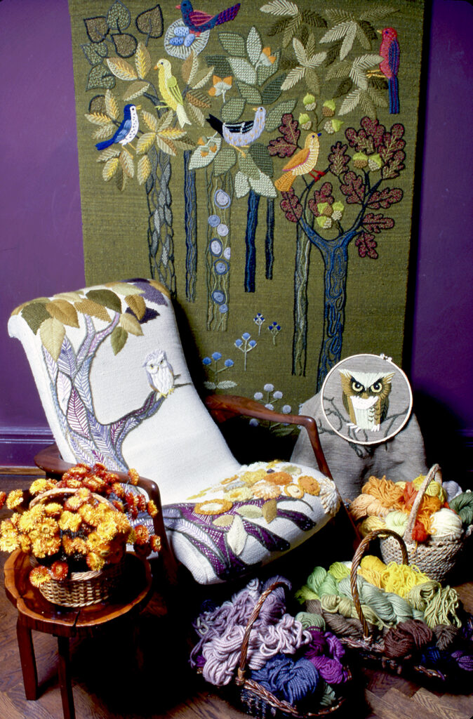 Left: Erica loved owls. The rocking chair was designed by Vladi with embroidered upholstery by Erica. This was displayed in Madison Avenue store and later in theirPark Avenue apartment. Image courtesy of The Family of Erica Wilson
