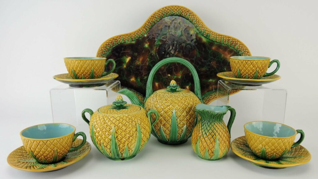 Majolica pineapple tea set