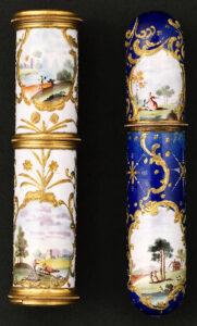 A South Staffordshire enamel combined etui and spyglass circa 1770. Realized $1,800 + premium in 2004 photo: bonhams.com