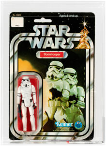 This Star Wars Stormtrooper 12-back-C AFA 80 on punched card took the top spot in Hake's online-only auction when it sold for $1,312,  $300 over the high-end estimate.  Image courtesy of Hake's Auctions.