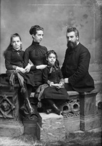 Mabel Hubbard Bell (1857-1923). She suffered a near-fatal bout of scarlet fever close to her fifth birthday in 1862 while visiting her maternal grandparents in New York City, and was thereafter left permanently and completely deaf. She and her father were significant supporters of Bell and his inventions. The Bell family poses for a photo in 1885. photo: National Geographic