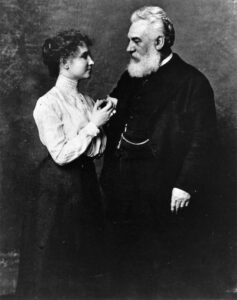 "Alexander Graham Bell and Helen Keller. The two met in 1886 and remained steadfast friends until his death in 1922. The two would correspond using a braille typewriter, which Keller also used to write her first autobiography, The Story of My Life, which she dedicated to him, writing, ""To Alexander Graham Bell, who has taught the deaf to speak and enabled the listening ear to hear speech from the Atlantic to the Rockies."""